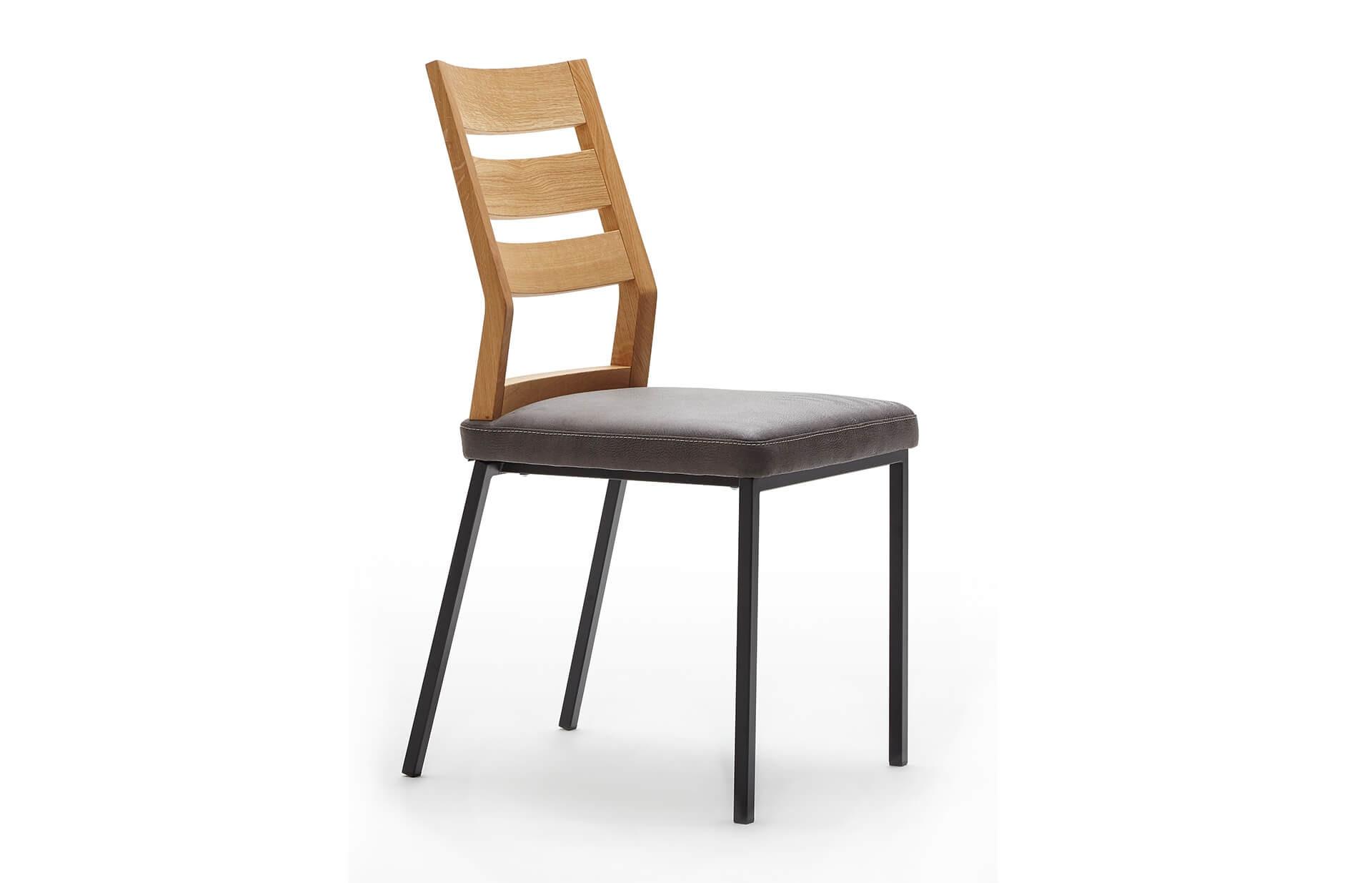 Stuhl Femke mit Metallgestell, Rückenlehne in Eiche bianco geölt