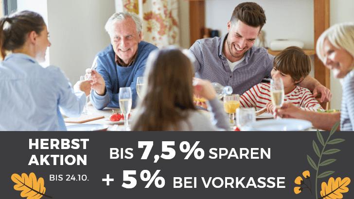 Bis zu 7,5% Rabatt auf alle Esstische + 5% bei Vorkasse!