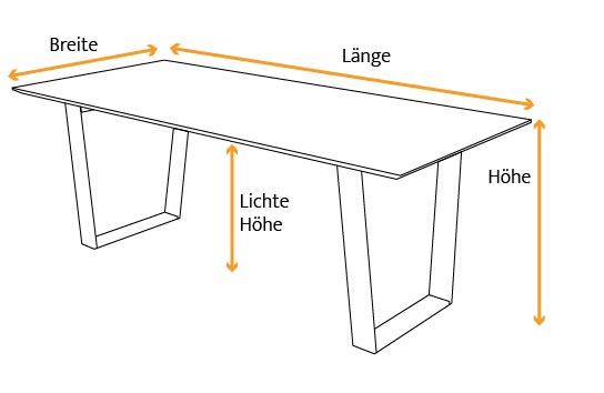 Tischmaße bei einem Kufentisch mit V-Kufen